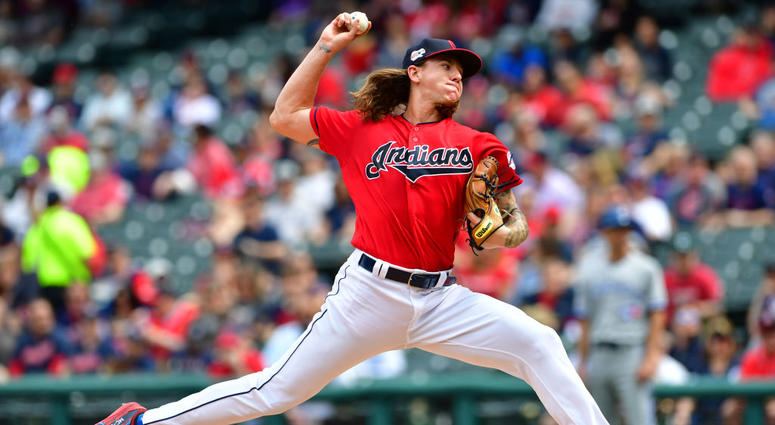 CLEVELAND, OHIO - APRIL 07: Starting pitcher Mike Clevinger #52 of the Cleveland Indians pitches during the first inning against the Toronto Blue Jays at Progressive Field on April 07, 2019 in Cleveland, Ohio. (Photo by Jason Miller/Getty Images)