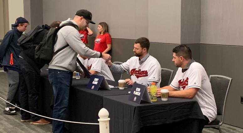 Corey Kluber signed autographs for fans