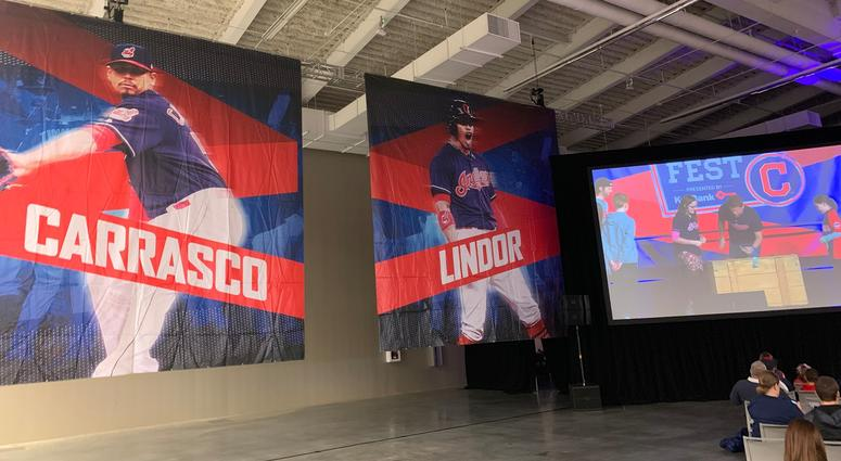 The convention center was lined with Indians banners
