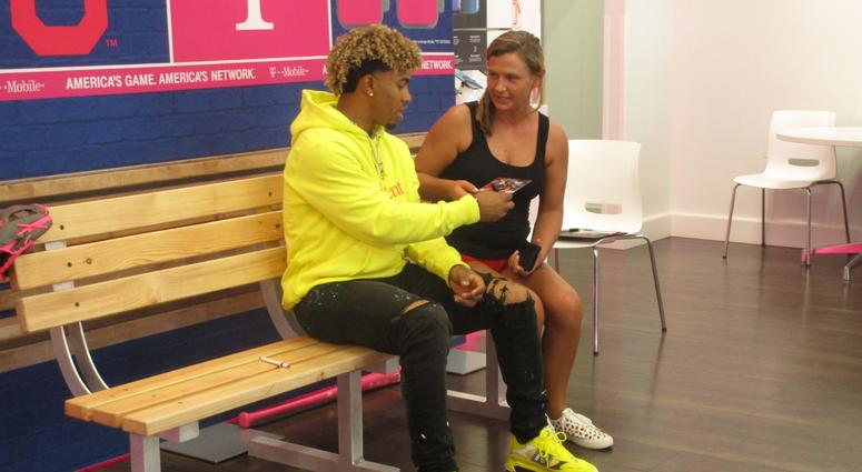Photos: Andy Baskin At T-Mobile With Francisco Lindor
