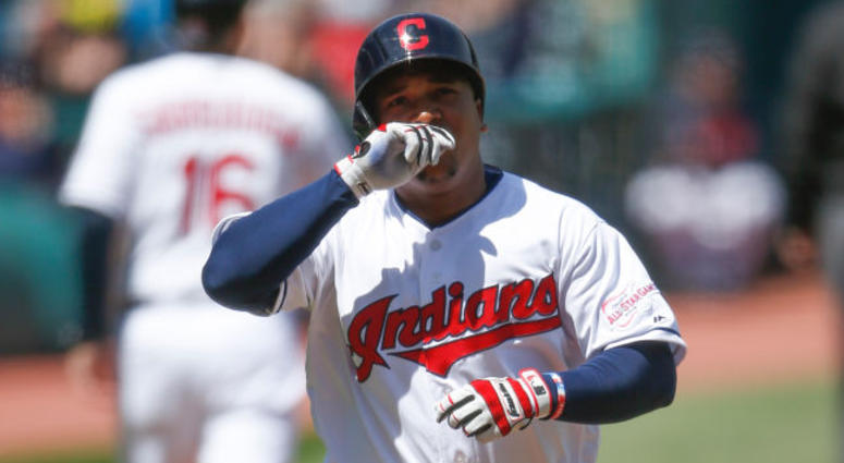 CLEVELAND, OH - APRIL 24: Jose Ramirez #11 of the Cleveland Indians rounds the bases after hitting a solo home run off Sandy Alcantara #22 of the Miami Marlins during the first inning at Progressive Field on April 24, 2019 in Cleveland, Ohio.