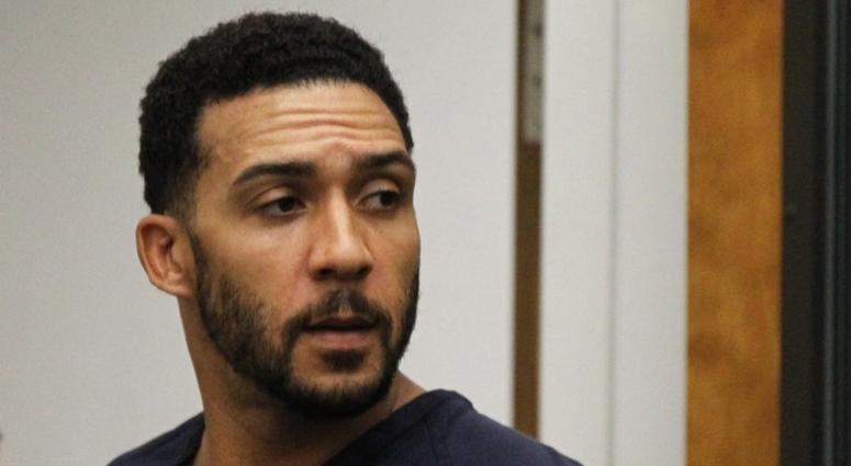 In this June 15, 2018, file photo, former NFL football player Kellen Winslow Jr., center, leaves his arraignment in Vista, Calif. Winslow, a former NFL No. 1 draft pick and son of a Hall of Famer who starred for his hometown San Diego Chargers, goes on