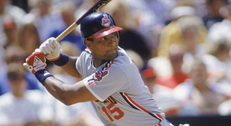 1990: Catcher Sandy Alomar Jr. #15 of the Cleveland Indians readies for the pitch during an MLB game during the 1990 season. (Photo by Stephen Dunn/Getty Images)