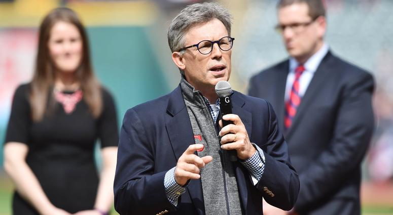 Apr 11, 2017; Cleveland, OH, USA; Cleveland Indians owner Paul Dolan speaks during the American League Championship ring ceremony before the opening day game between the Cleveland Indians and the Chicago White Sox at Progressive Field. Mandatory Credit: K