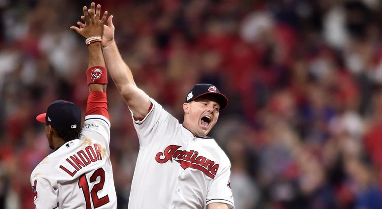 cafb323947c1 Cleveland Indians shortstop Francisco Lindor (12) and right fielder Jay  Bruce (32)