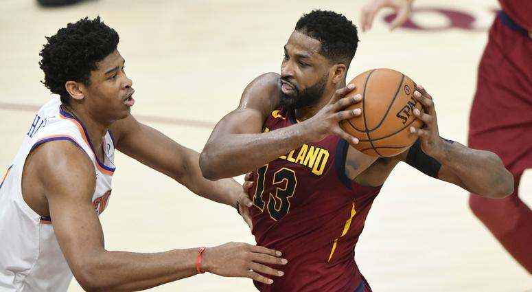 Apr 11, 2018; Cleveland, OH, USA; Cleveland Cavaliers center Tristan Thompson (13) drives against New York Knicks forward Lance Thomas (42) in the second quarter