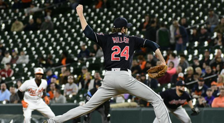 Apr 23, 2018; Baltimore, MD, USA; Cleveland Indians relief pitcher Andrew Miller (24) pitches during the eighth inning against the Baltimore Orioles at Oriole Park at Camden Yards. Cleveland Indians defeated Baltimore Orioles 2-1.