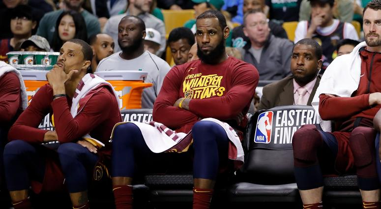 73983f12b581d Cavaliers forward LeBron James (23) watches the action against the Boston  Celtics from the