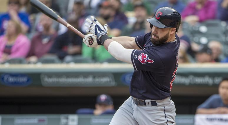Cleveland Indians second baseman Jason Kipnis (22) hits a single in the second inning against the Minnesota Twins at Target Field.