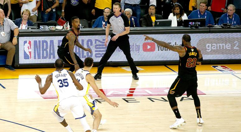 Cleveland Cavaliers guard JR Smith (5) dribbles the ball after controlling an offensive rebound against the Golden State Warriors with under five seconds remaining in the fourth quarter in game one of the 2018 NBA Finals at Oracle Arena
