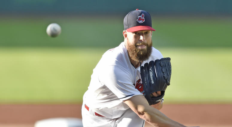 Jun 5, 2018; Cleveland, OH, USA; Cleveland Indians starting pitcher Corey Kluber (28) delivers in the first inning against the Milwaukee Brewers at Progressive Field.