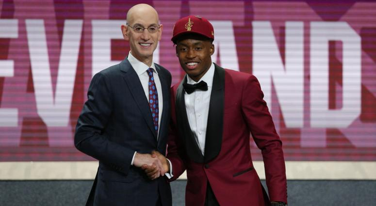 Collin Sexton (Alabama) greets NBA commissioner Adam Silver after being selected as the number eight overall pick to the Cleveland CAvaliers in the first round of the 2018 NBA Draft at the Barclays Center.