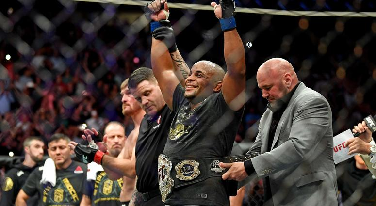 Daniel Cormier  celebrates beating Stipe Miocic during UFC 226 at T-Mobile Arena.