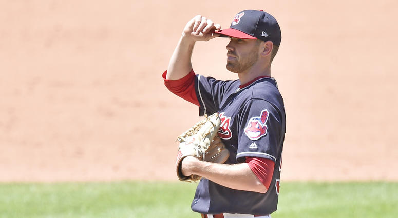 Jul 8, 2018; Cleveland, OH, USA; Cleveland Indians starting pitcher Shane Bieber (57) reacts after giving up a home run in the sixth inning against the Oakland Athletics at Progressive Field.