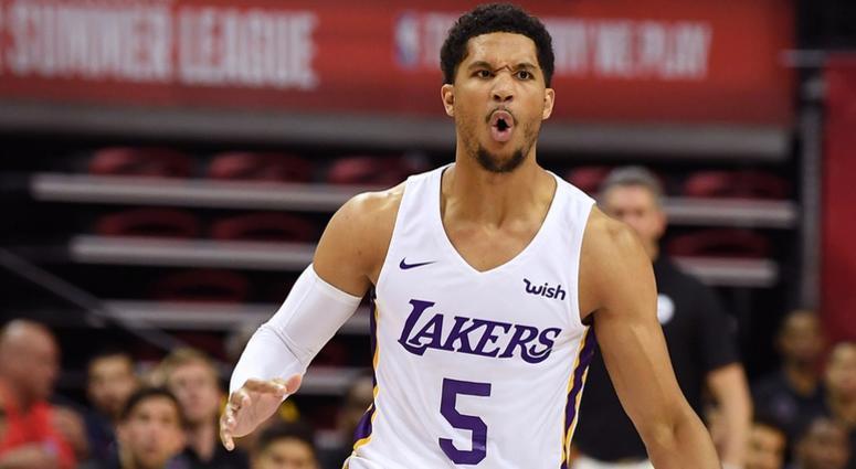 Los Angeles Lakers guard Josh Hart (5) dribbles during the first half at Thomas & Mack Center.