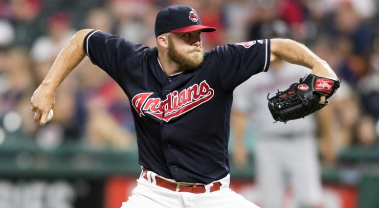 Aug 8, 2018; Cleveland, OH, USA; Cleveland Indians relief pitcher Cody Allen (37) throws a pitch during the ninth inning against the Minnesota Twins at Progressive Field.