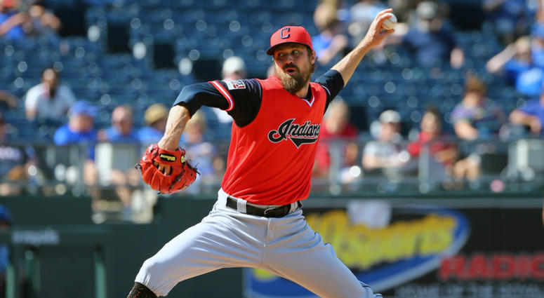 Aug 26, 2018; Kansas City, MO, USA; Cleveland Indians relief pitcher Andrew Miller (24) pitches against the Kansas City Royals in the eighth inning at Kauffman Stadium.