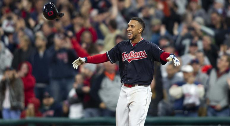 Sep 22, 2018; Cleveland, OH, USA; Cleveland Indians left fielder Michael Brantley (23) tosses his helmet as he celebrates his single to score the game winning run against the Boston Red Sox during the eleventh inning at Progressive Field. The Indians won