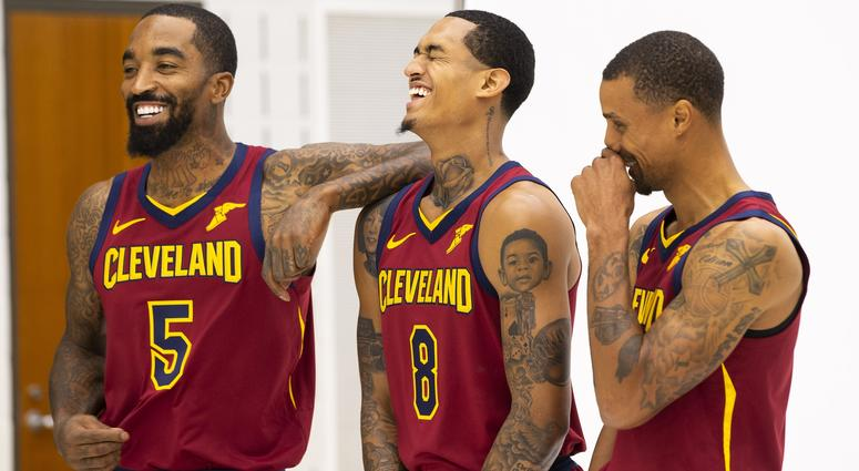 3a011bd1f3bd Cleveland Cavaliers guard J.R. Smith (5) and guard Jordan Clarkson (8) laugh