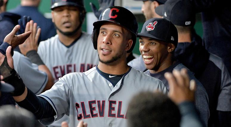 Sep 29, 2018; Kansas City, MO, USA; Cleveland Indians left fielder Michael Brantley (23) celebrates in the dugout after scoring in the first inning against the Kansas City Royals at Kauffman Stadium. Mandatory Credit: Denny Medley-USA TODAY Sports