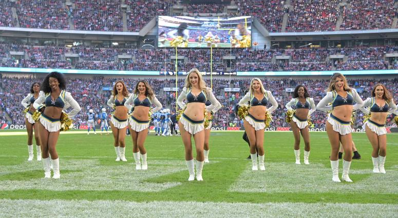 Oct 21, 2018; London, United Kingdom; Los Angeles Chargers girls cheerleaders perform during a game against the Tennessee Titans during an NFL International Series game at Wembley Stadium. Mandatory Credit: Kirby Lee-USA TODAY Sports