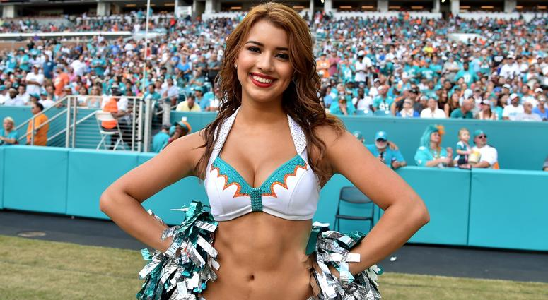 Oct 21, 2018; Miami Gardens, FL, USA; Miami Dolphins cheerleader performs against the Detroit Lions during the first half at Hard Rock Stadium. Mandatory Credit: Steve Mitchell-USA TODAY Sports