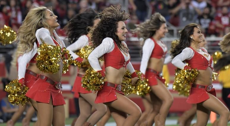 Nov 1, 2018; Santa Clara, CA, USA; San Francisco 49ers gold rush cheerleaders perform during the game against the Oakland Raiders at Levi's Stadium. Mandatory Credit: Kirby Lee-USA TODAY Sports