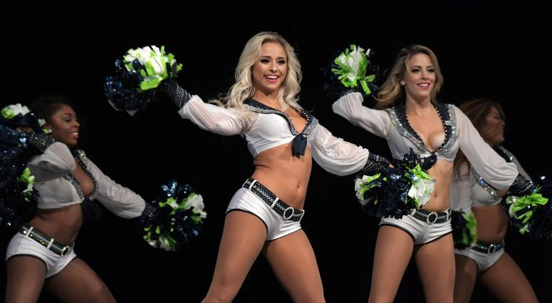 Nov 4, 2018; Seattle, WA, USA; Seattle Seahawks Sea Gals cheerleaders perform before a game against the Los Angeles Chargers at CenturyLink Field. Mandatory Credit: Kirby Lee-USA TODAY Sports