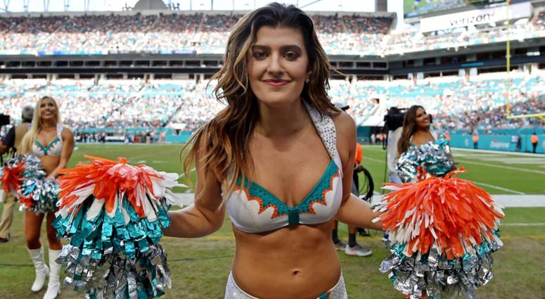 Nov 4, 2018; Miami Gardens, FL, USA; Miami Dolphins cheerleader reacts against the New York Jets during the second half at Hard Rock Stadium. Mandatory Credit: Steve Mitchell-USA TODAY Sports