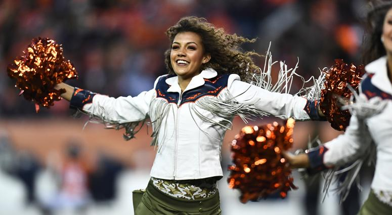 Nov 4, 2018; Denver, CO, USA; Denver Broncos cheerleader performs in the second half against the Houston Texans at Broncos Stadium at Mile High. Mandatory Credit: Ron Chenoy-USA TODAY Sports