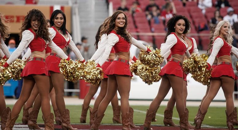 Nov 1, 2018; Santa Clara, CA, USA; San Francisco 49ers cheerleaders perform for the crowd before the game against the Oakland Raiders at Levi's Stadium. Mandatory Credit: Stan Szeto-USA TODAY Sports