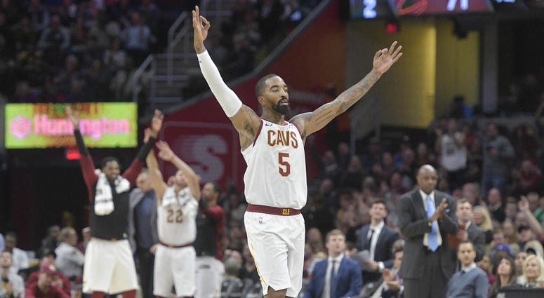 Nov 7, 2018; Cleveland, OH, USA; Cleveland Cavaliers guard JR Smith (5) celebrates in the fourth quarter against the Oklahoma City Thunder at Quicken Loans Arena. Mandatory Credit: David Richard-USA TODAY Sports