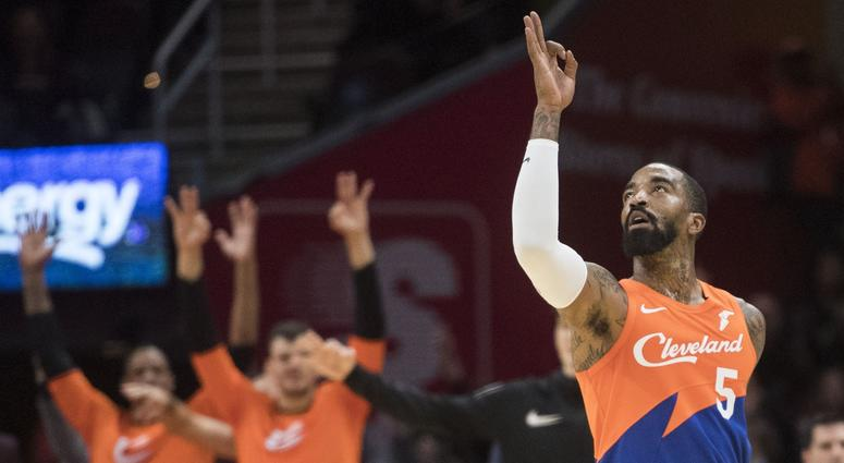 Cleveland Cavaliers guard JR Smith (5) celebrates a three-pointer during the second half against the Charlotte Hornets at Quicken Loans Arena