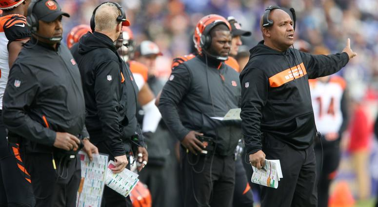 Cincinnati Bengals special assistant to the head coach Hue Jackson reacts to a call in the first quarter of an NFL football game,Sunday, Nov. 18, 2018, at M&T Bank Stadium in Baltimore.
