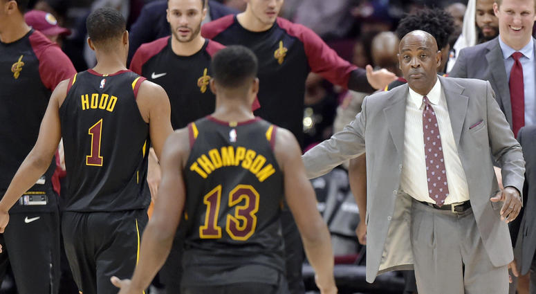 Nov 24, 2018; Cleveland, OH, USA; Cleveland Cavaliers head coach Larry Drew reacts in the fourth quarter against the Houston Rockets at Quicken Loans Arena. Mandatory Credit: David Richard-USA TODAY Sports