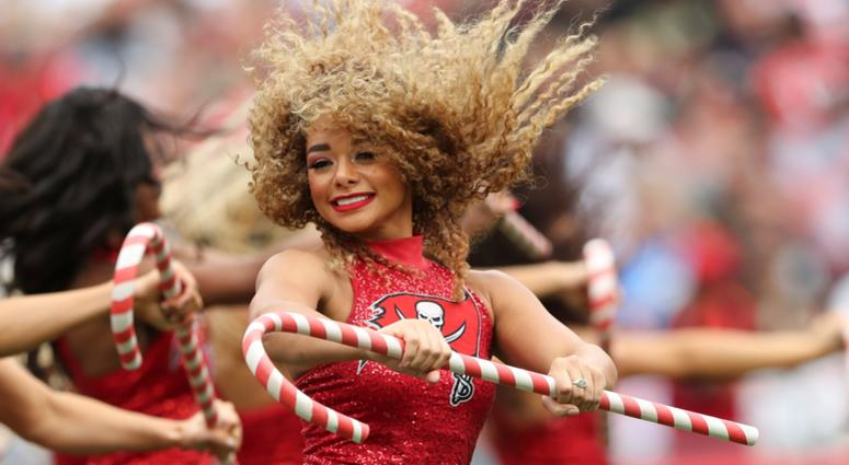 Dec 9, 2018; Tampa, FL, USA; Tampa Bay Buccaneers cheerleader performs during the game against the New Orleans Saints at Raymond James Stadium. Mandatory Credit: Kevin Jairaj-USA TODAY Sports