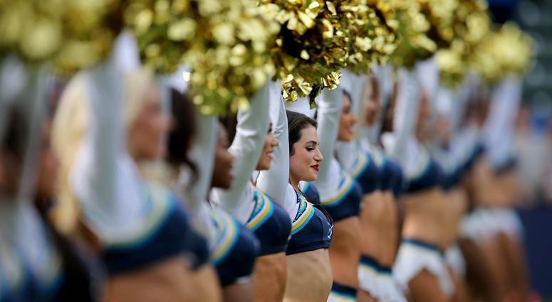 Dec 9, 2018; Carson, CA, USA; Los Angeles Chargers cheerleaders perform just before kickoff of the game against the Cincinnati Bengals, Sunday, Dec. 9, 2018, at StubHub Center in Carson, California. Mandatory Credit: Kareem Elgazzar/The Cincinnati Enquire