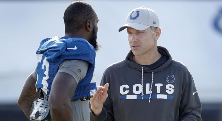 Indianapolis Colts defensive coordinator Matt Eberflus talks with linebacker Darius Leonard (53) during the Colts training camp at Grand Park in Westfield on Monday, August 6, 2018. Indianapolis Colts Training Camp At Grand Park In Westfield