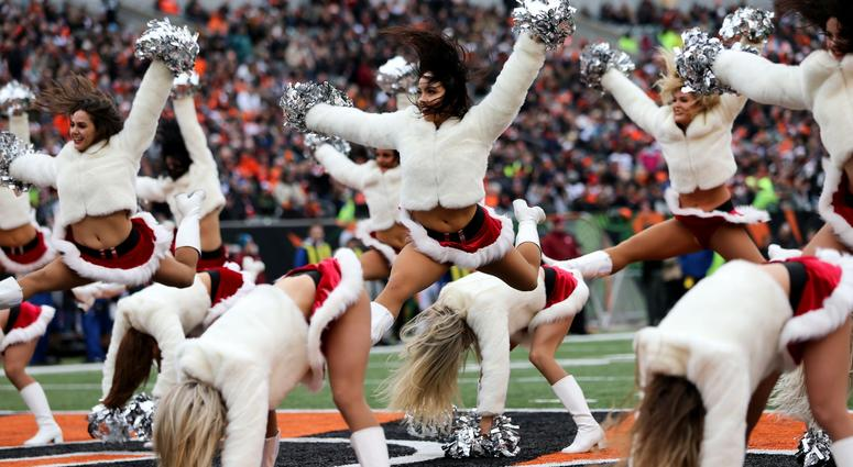 The Cincinnati Bengals Ben-Gal cheerleaders perform between the first and second quarters of a Week 15 NFL football game, Sunday, Dec. 16, 2018, at Paul Brown Stadium in Cincinnati. Oakland Raiders At Cincinnati Bengals 12 16 2018