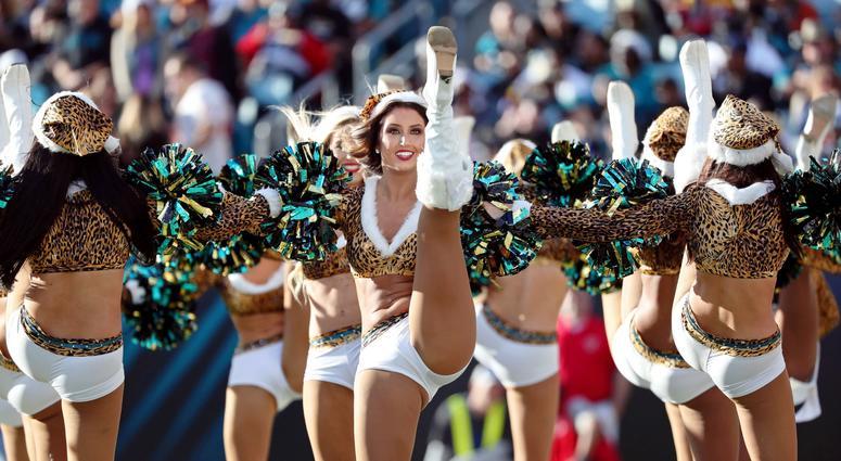 Dec 16, 2018; Jacksonville, FL, USA; Jacksonville Jaguars cheerleaders cheer against the Washington Redskins during the second half at TIAA Bank Field. Mandatory Credit: Kim Klement-USA TODAY Sports
