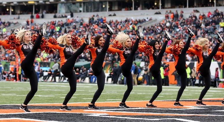 The Cincinnati Bengals Ben-Gals cheerleaders perform between the third and fourth quarters of a Week 15 NFL football game, Sunday, Dec. 16, 2018, at Paul Brown Stadium in Cincinnati. The Cincinnati Bengals won 30-16. Oakland Raiders At Cincinnati Bengals