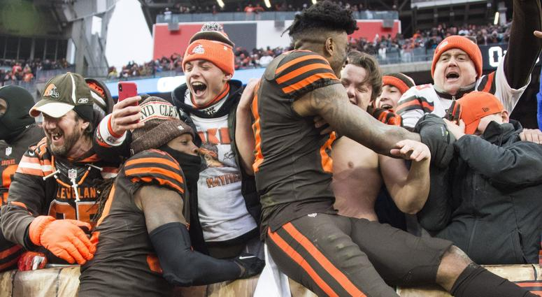 Dec 23, 2018; Cleveland, OH, USA; Cleveland Browns linebacker Ray-Ray Armstrong (52) and wide receiver Rashard Higgins (81) celebrate with fans after the Browns beat the Cincinnati Bengals at FirstEnergy Stadium. Mandatory Credit: Ken Blaze-USA TODAY Spor