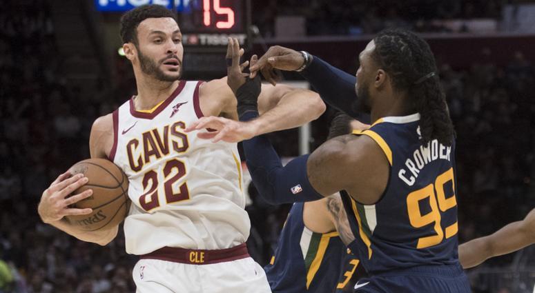Jan 4, 2019; Cleveland, OH, USA; Utah Jazz forward Jae Crowder (99) defends Cleveland Cavaliers forward Larry Nance Jr. (22) during the first half at Quicken Loans Arena. Mandatory Credit: Ken Blaze-USA TODAY Sports