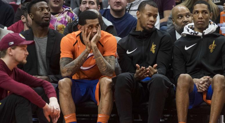 Jan 5, 2019; Cleveland, OH, USA; Cleveland Cavaliers guard Jordan Clarkson (in orange) sits on the bench late in the fourth quarter of the Cavaliers 133-98 loss to the New Orleans Pelicans at Quicken Loans Arena. Mandatory Credit: Ken Blaze-USA TODAY