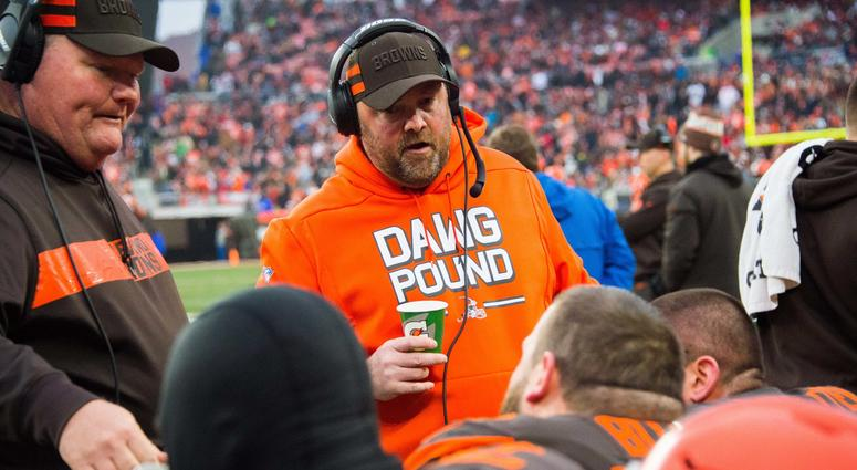 Dec 23, 2018; Cleveland, OH, USA; Cleveland Browns offensive coordinator Freddie Kitchens during the second half at FirstEnergy Stadium. Mandatory Credit: Ken Blaze-USA TODAY Sports