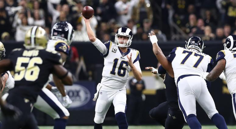 Los Angeles Rams quarterback Jared Goff (16) throws in the pocket in the second quarter against the New Orleans Saints in the NFC Championship at Mercedes-Benz Superdome.