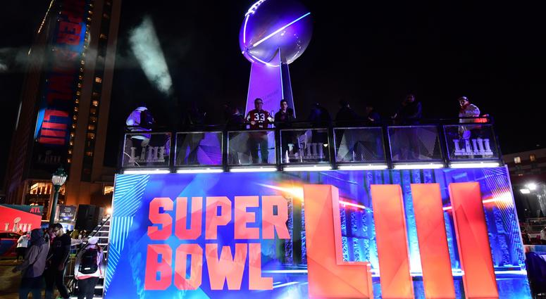 General overall view of replica Vince Lombardi trophy at Super Bowl LIII live at Centennial Park.