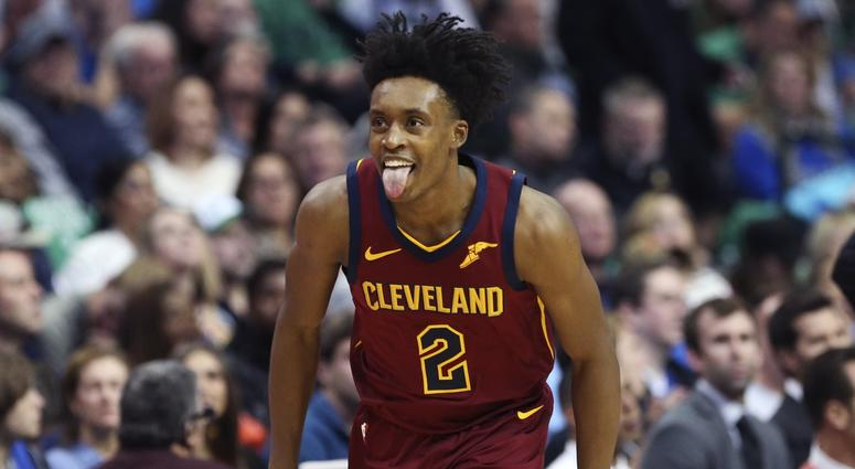 Mar 16, 2019; Dallas, TX, USA; Cleveland Cavaliers guard Collin Sexton (2) reacts after scoring during the second half against the Dallas Mavericks at American Airlines Center. Mandatory Credit: Kevin Jairaj-USA TODAY Sports