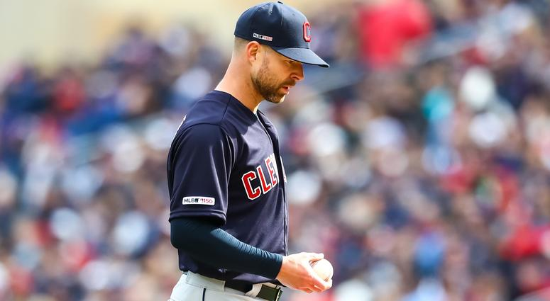 Mar 28, 2019; Minneapolis, MN, USA; Cleveland Indians starting pitcher Corey Kluber (28) looks on in the bottom of the second inning against the Minnesota Twins at Target Field. Mandatory Credit: David Berding-USA TODAY Sports