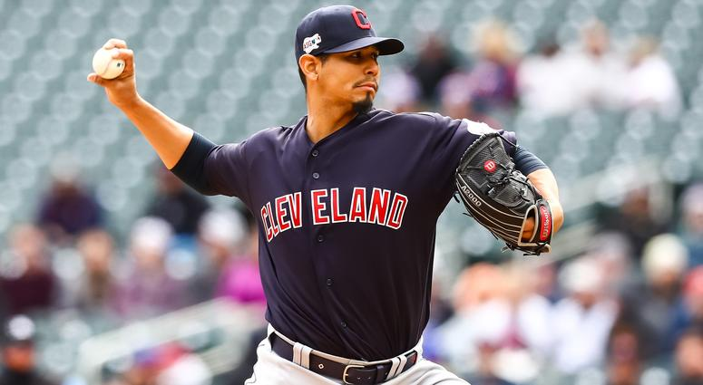 Mar 31, 2019; Minneapolis, MN, USA; Cleveland Indians starting pitcher Carlos Carrasco (59) throws a pitch in the bottom of the first inning against the Minnesota Twins at Target Field. Mandatory Credit: David Berding-USA TODAY Sports